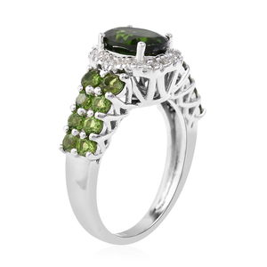 Russian Diopside, White Zircon Ring in Sterling Silver (Size 11.0) 2.68 ctw