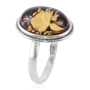 Mayan Green Amber Ring in Sterling Silver (Size 7.0)