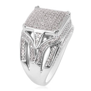 Diamond Platinum Over Sterling Silver Ring (Size 7.5) 1.00 ctw