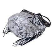 J Francis - Silver Faux Leather Handbag (13x4x11 in)