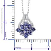 Tanzanite (Ovl), Diamond Pendant With Chain (20 in) in Platinum Overlay Sterling Silver Nickel Free TDiaWt 0.010Cts., TGW 1.38 Cts.