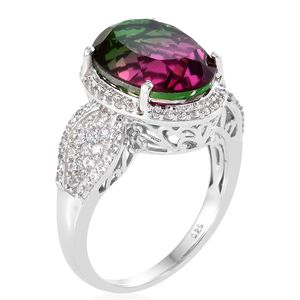 Watermelon Quartz, Cambodian Zircon Ring in Platinum Over Sterling Silver (Size 9.0) 11.12 ctw