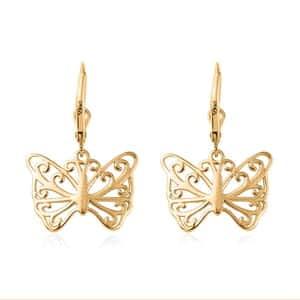 14K YG Over Sterling Silver Butterfly Earrings