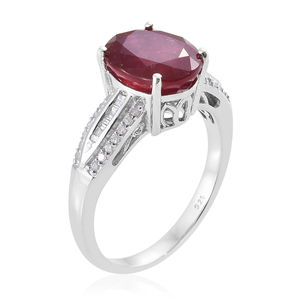Niassa Ruby, Diamond (0.32 ct) Ring in Platinum Over Sterling Silver (Size 6.0) 6.82 ctw