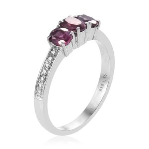 Orissa Rose Garnet Trilogy Ring in Stainless Steel (Size 6.0) 1.30 ctw