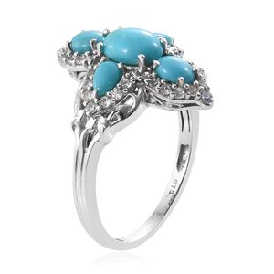 Arizona Sleeping Beauty Turquoise, Multi Gemstone Ring in Platinum Over Sterling Silver (Size 10.0) 3.10 ctw