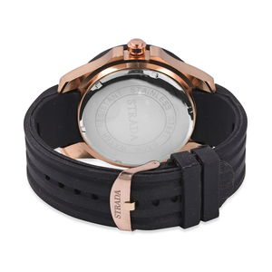 STRADA Japanese Movement Water Resistant Watch with Black Silicone Band and Stainless Steel Back