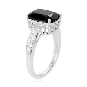 Thai Black Spinel, White CZ Ring in Sterling Silver (Size 8.0) 4.46 ctw