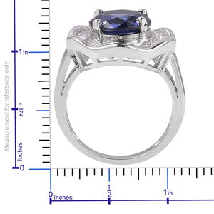 Blue and White CZ Ring in Silvertone (Size 10.0) 6.52 ctw