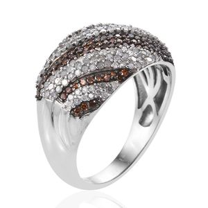 Red Diamond (IR), Diamond Dome Ring in Rhodium & Platinum Over Sterling Silver (Size 9.0) 1.50 ctw