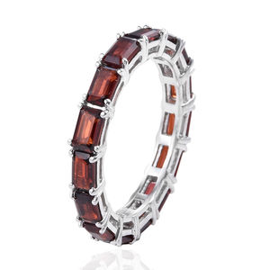 Mozambique Garnet Eternity Band Ring in Platinum Over Sterling Silver (Size 7.0) 4.68 ctw