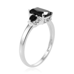 Thai Black Spinel Ring in Sterling Silver (Size 9.0) 3.19 ctw