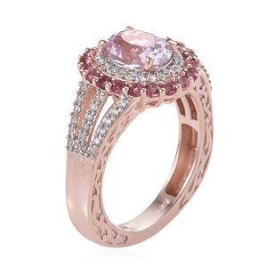 Kunzite, Multi Gemstone Euro Ring in Vermeil RG Over Sterling Silver (Size 10.0) 3.80 ctw