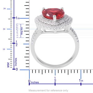 Red Glass, White CZ Heart Ring in Silvertone (Size 9.0) 1.40 ctw