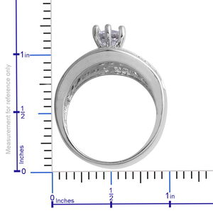 White CZ Ring in Silvertone (Size 9.0) 11.52 ctw