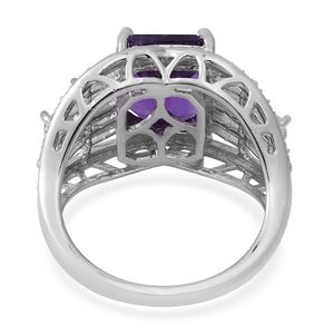 Amethyst, White Topaz Ring in Platinum Over Sterling Silver (Size 7.0) 6.90 ctw