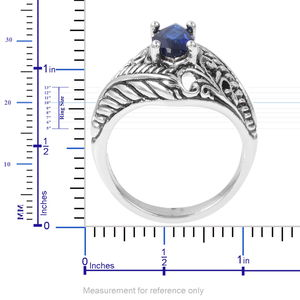 Simulated Blue Sapphire Black Oxidized Stainless Steel Ring (Size 9.0) 2.00 ctw