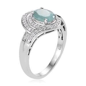 Grandidierite, Diamond (0.35 ct) Ring in Platinum Over Sterling Silver (Size 7.0) 2.20 ctw