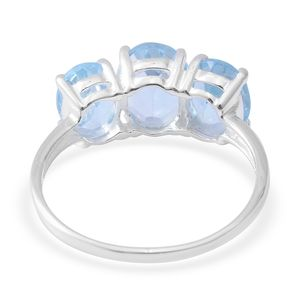 Sky Blue Topaz Trilogy Ring in Sterling Silver (Size 7.0) 5.12 ctw