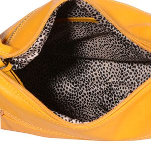 Yellow Faux Leather Zippered Crossbody Hobo Bag (11x4x9 in)