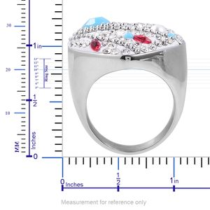 Multi Color Chroma, Austrian Crystal Ring in Stainless Steel (Size 10.0)