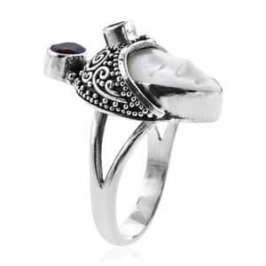 Bali Goddess Carved Bone, Mozambique Garnet Ring in Sterling Silver (Size 8.0) (Avg. 10.47 g) 1.26 ctw