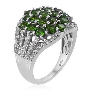 Russian Diopside, Cambodian Zircon Ring in Platinum Over Sterling Silver (Size 8.0) 4.65 ctw