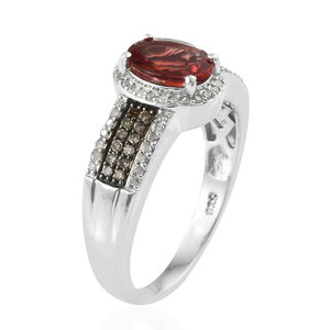 Red Andesine, Natural Champagne and White Diamond (0.40 ct) Ring in Rhodium & Platinum Over Sterling Silver (Size 10.0) 1.70 ctw