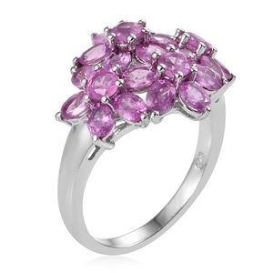 Ilakaka Hot Pink Sapphire Ring in Platinum Over Sterling Silver (Size 6.0) 6.05 ctw
