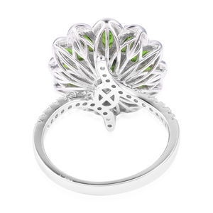 Russian Diopside, White Zircon Floral Ring in Sterling Silver (Size 6.0) 5.36 ctw