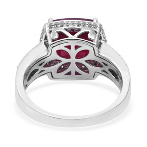 Niassa Ruby, Cambodian White Zircon Ring in Platinum Over Sterling Silver (Size 5.0) 7.65 ctw
