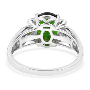 Russian Diopside Ring in Sterling Silver (Size 8.0) 3.75 ctw