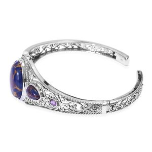 Artisan Crafted Mojave Purple Turquoise, Amethyst Cuff Bracelet in Sterling Silver (8 in) 20.74 ctw