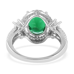 Green and White CZ Ring in Sterling Silver (Size 6.0) 3.98 ctw