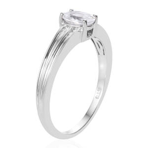 Natural White Zircon Ring in Platinum Over Sterling Silver (Size 8.0) 1.25 ctw