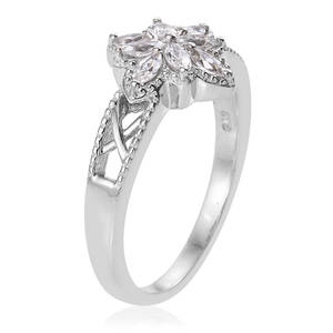 Natural White Zircon Flower Ring in Platinum Over Sterling Silver (Size 10.0) 0.75 ctw