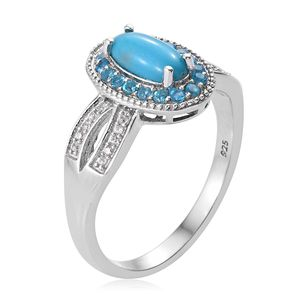 Arizona Sleeping Beauty Turquoise, Multi Gemstone Ring in Platinum Over Sterling Silver (Size 6.0) 1.60 ctw