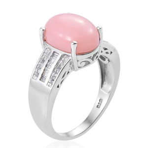 Peruvian Pink Opal, White Topaz Ring in Platinum Over Sterling Silver (Size 10.0) 4.90 ctw