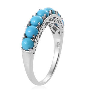 Arizona Sleeping Beauty Turquoise Ring in Platinum Over Sterling Silver (Size 6.0) 2.10 ctw