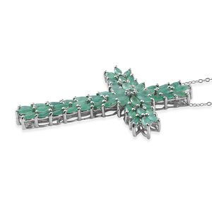 Host Pick, Sokoto Emerald Cross Pendant Necklace (20 in) in Platinum Over Sterling Silver 6.52 ctw
