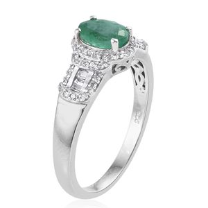 Socoto Emerald, Cambodian Zircon Ring in Platinum Over Sterling Silver (Size 6.0) 1.62 ctw