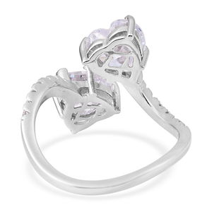 LUSTRO STELLA CZ Heart Bypass Ring in Sterling Silver (Size 5.0) 4.78 ctw