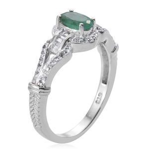 Socoto Emerald, White Topaz Ring in Platinum Over Sterling Silver (Size 6.0) 1.25 ctw