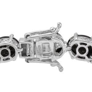 Shungite, Thai Black Spinel Bracelet in Platinum Over Sterling Silver (7.25 In) 18.20 ctw