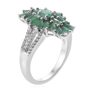 Socoto Emerald, Cambodian Zircon Ring in Platinum Over Sterling Silver (Size 9.0) 2.10 ctw