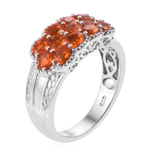 Crimson Fire Opal Ring in Platinum Over Sterling Silver (Size 5.0) 1.42 ctw