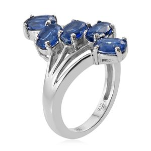 Kashmir Kyanite 5 Stone Ring in Platinum Over Sterling Silver (Size 9.0) 3.25 ctw