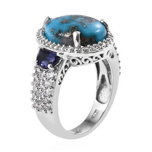 Persian Turquoise, Multi Gemstone Ring in Platinum Over Sterling Silver (Size 6.0) 10.82 ctw