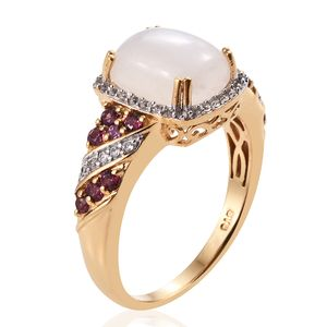 Rainbow Moonstone, Multi Gemstone Ring in Vermeil YG Over Sterling Silver (Size 6.0) 6.23 ctw