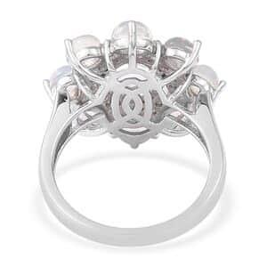 Ethiopian Welo Opal, White Zircon Ring in Sterling Silver (Size 9.0) 3.30 ctw